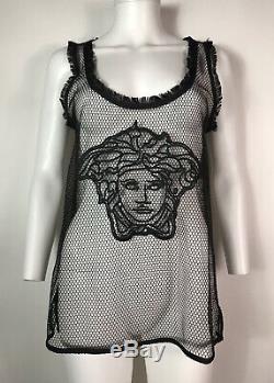 Rare Vtg Versace Black Medusa Net Tank Top L