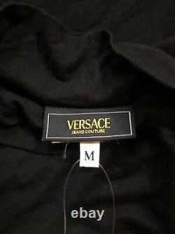 Rare Vtg Versace Jeans Couture Black Crystal Logo Top S
