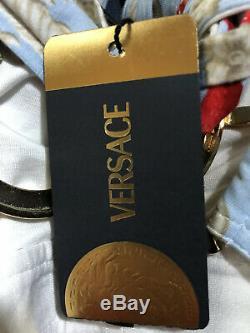 Rare Vtg Versace SS2005 Runway Blue Gold Medusa Crop Top XS