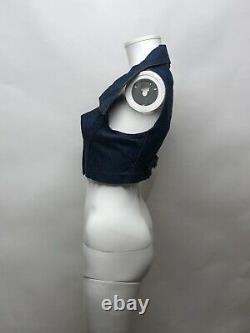 Rare Vtg Vivienne Westwood 90s Blue Denim Gold Orb Logo Bustier Corset Top S