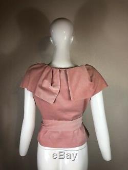 Rare Vtg Vivienne Westwood 90s Red Label Pink Velvet Belted Corset Style Top S