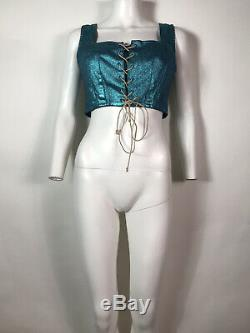 Rare Vtg Vivienne Westwood Anglomania Blue Metallic Bustier Corset Crop Top S
