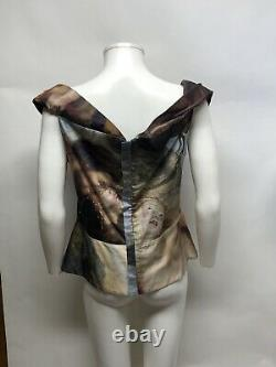 Rare Vtg Vivienne Westwood Anglomania Painting Corset Style Cut Top XL