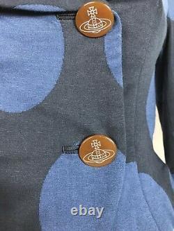 Rare Vtg Vivienne Westwood Blue Black Print Jacket XS