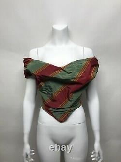 Rare Vtg Vivienne Westwood Green Red Silk Taffeta Corset Top 1998 S