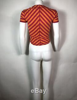 Rare Vtg Vivienne Westwood Orange Pink Chevron Orb Logo Top S