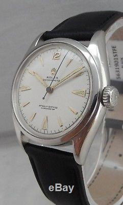 Rolex Perpetual Bubbleback SS Mens Watch 6084 ULTRA RARE SUPER OYSTER CROWN 1951