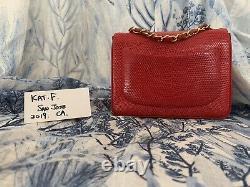 SUPER RARE Chanel Collectors Vintage Red Lizard Skin Square Mini