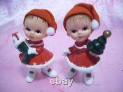 SUPER RARE VTG Christmas Lefton Japan Iridescent Elf Pixie Boy Figurine Set