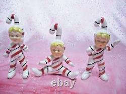 SUPER RARE VTG Japan Christmas Candy Cane Boy Elf Pixie Figurine Set
