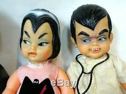 Super RARE Ideal 1965 Mini Monsters Munsters Set of 4 Dressed Dolls-SO RARE