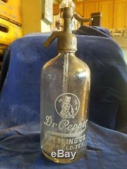 Super RARE Vintage Amarillo, Texas Dr. Pepper Seltzer Bottle Excellent condition