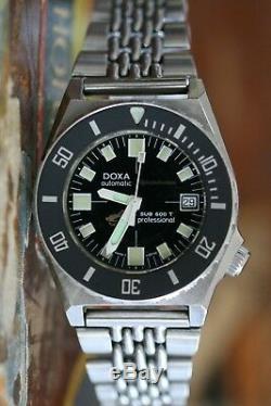 Super Rare Doxa Sub 600t Professional Spirotechnique Vintage 80ies Unpoliert