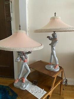 Super Rare Set Of Vintage Chalkware Lamp Mid Century Ceramic Retro 50s Reglor
