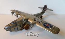 Super Rare Vintage 1930's Chein & Co Tin Wind Up Army Airplane Plane Toy