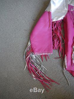 Super Rare Vintage 1970s Silver and Pink Tasseled Jacket worn by Suzi Quatro