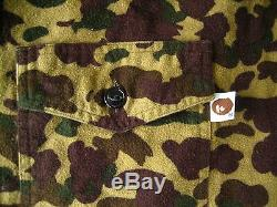 Super Rare Vintage Authentic A Bathing Ape Military Camo zip up Shirts
