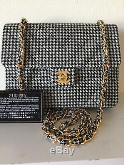 Super Rare Vintage Chanel Houndstooth Mini Flap Bag