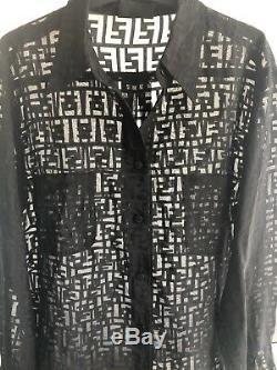 Super Rare Vintage Fendi Sheer Zucca Shirt Italian 44