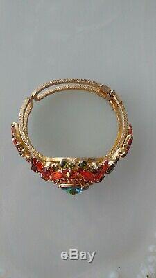 Super Rare Vintage Juliana D&E Rhinestone Glass Rivoli Clamper Bracelet