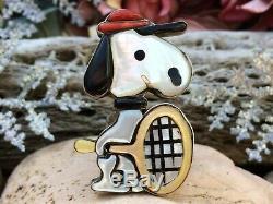 Super Rare Vintage Zuni Sterling Silver Snoopy Tennis Carol Kee Coral Onyx Ring
