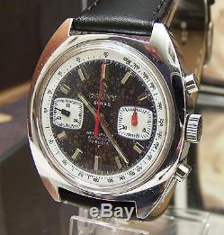V Rare Vintage 60's/70's Cauny Prima Valjoux 7733 Chronograph Watch Super Dial