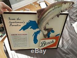 VINTAGE BOSCH BEER sign coho salmon 3-d image nice shape super rare