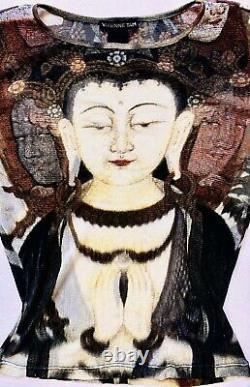 VIVIENNE TAM Vintage 90s Buddha Kuanyin Print Mesh Top RARE