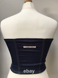 Very Rare Vintage Jean Paul Gaultier Denim & Safety Pin Bustier Size 36 Size 10