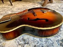 Vintage 1930s Marwin Super Archtop Acoustic Guitar, Harmony, Rare, Project