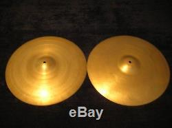 Vintage 1948 Ultra Rare Zildjian Trans Stamp Extra Thin 15 Hi Hat Cymbals SUPER