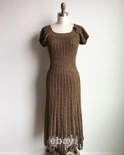 Vintage 90s Black Label Betsey Johnson Olive Crochet Dress Sz XS-S SUPER RARE
