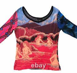 Vintage Custo Barcelona Long sleeve T Shirt Abstract Funky Print Large RARE