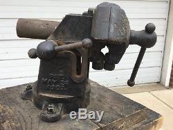 Vintage Emmert Machinists Vise SUPER RARE 1903 Model 6a 3 Jaws withSwivel Base