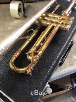 Vintage Getzen Super Deluxe Sterling Silver Artist Model Trumpet tri Color -RARE