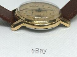 Vintage Gold Tell Chronograph 17 Jewels Super Rare Guiloche dial