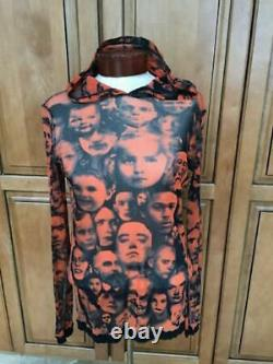 Vintage Jean Paul Gaultier Mesh Sheer Faces Hooded Shirt Top S M Rare