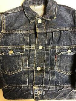 Vintage Levi 507 Jacket Kids Super Rare Big E Indigo EUC 50s Workwear Dark