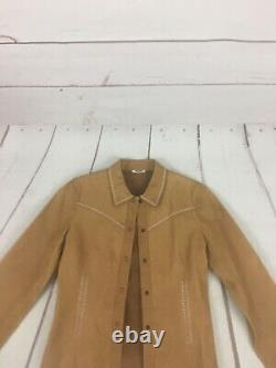 Vintage MIU MIU Leather Button Up Western Stitched Shirt Size 42 Rare Stained