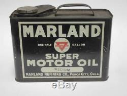 Vintage Marland One Half Gallon Super Motor Oil Can with Cap RARE