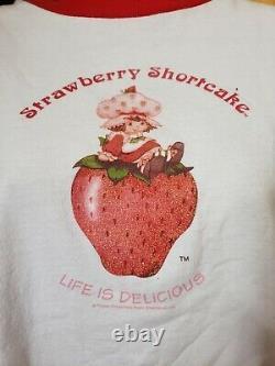 Vintage Strawberry Shortcake Ringer T Shirt 90s Rare Life Is Delicious Sz XL