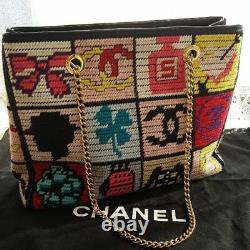Vintage Super Rare CHANEL knit icon shoulder bag From JAPAN Free shipping