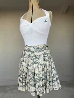 Vintage Vivienne Westwood Top 90s White Cotton Orb Halter Summer Fitted L Rare