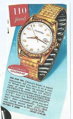 Vintage WATCH MEN, s Clinton 110 JEWEL AUTOMATIC super RARE