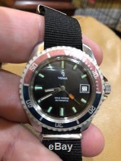 Vintage Yema Sous Marine Automatic Diver Watch 1970s Pepsi Bezel SUPER RARE
