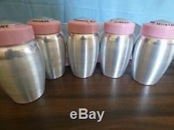Vintage aluminum Kromex spice rack with 8 spices pink tops Rare