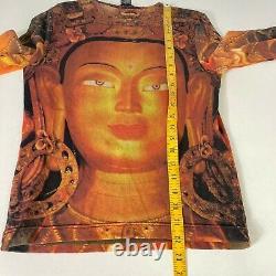 Vivienne Tam Buddha Top RARE 90s Vintage 3/4 Sleeve Gaultier Style Mesh Size 2