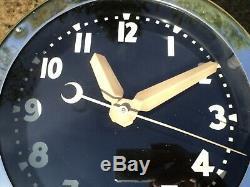 Vtg 1950's Glo-Dial Chrome Electric NEON Wall Clock Light Up Original Super Rare