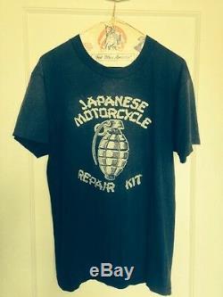 Vtg 70s 80s RARE Japanese Harley Davidson Zipper's Motorcycle T Shirt L 42 USA