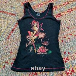 Vtg 90s Y2k Trick Fashion Hot Topic Fairy Faerie Tank Top Shirt Goth Rare S to M